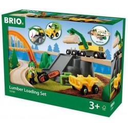 CARICO LEGNAME lumber loading set BRIO world TAGLIO LEGNA ferrovia TRENO trenino 33789 SEGHERIA età 3+