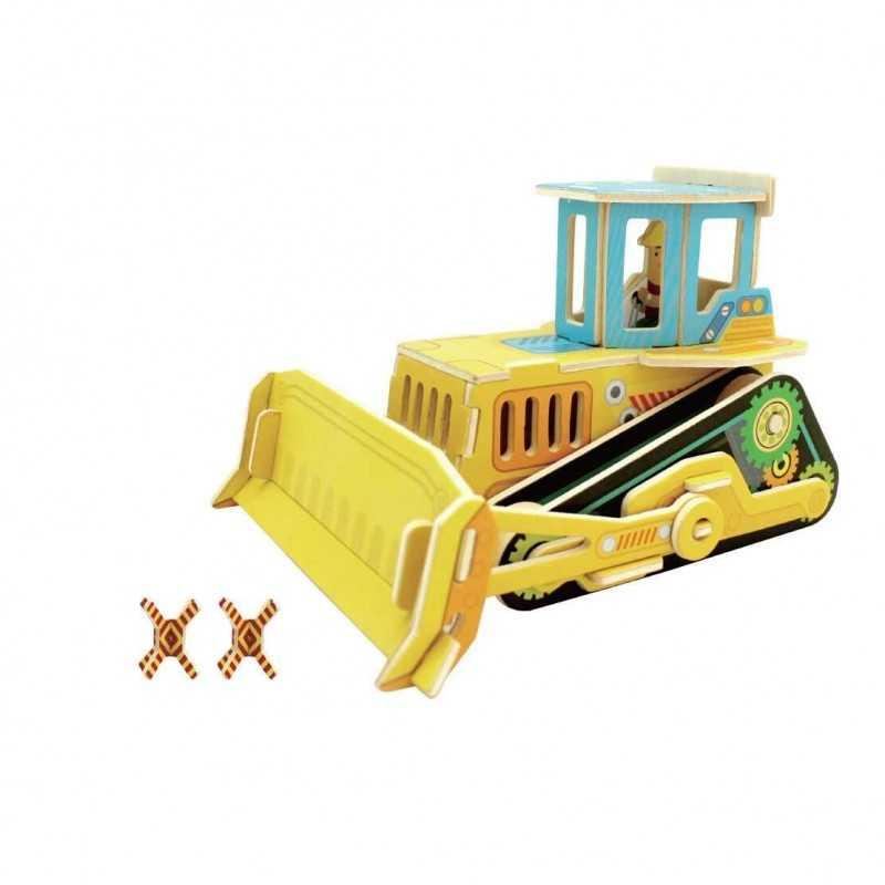 BULLDOZER in legno naturale PUZZLE 3D colorato 3DINO 35 pezzi COSTRUZIONI IN LEGNO età 3+