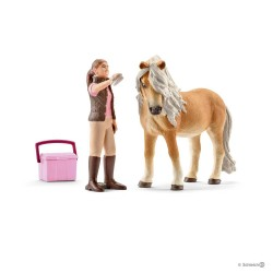 STALLIERE CON GIUMENTA DI PONY ISLANDESE animali in resina SCHLEICH miniature 14431 farm life ICELAND PONY MARE
