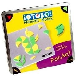 IOTOBO POCKET mosaico magnetico 40 PEZZI costruzioni 3 FORME set giovani artisti GIALLO E VERDE età 5+