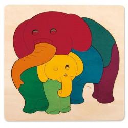 Puzzle in legno ELEFANTE ED ELEFANTINO 8 pezzi Hape George Luck E6505 età da 2 anni