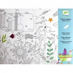 STRISCIA DA COLORARE sotto il mare 126 CM kit artistico CARTA creativo DJECO età 6+