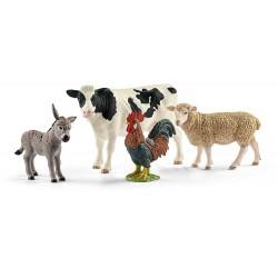 SET FATTORIA SCHLEICH 42385 Mucca Pecora Asino Gallo Starter Set Farm World