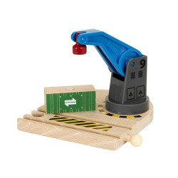 GRU MAGNETICA BLU in legno treni BRIO 33866 trenino Low Level Crane