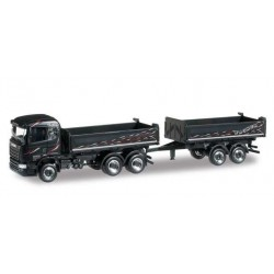 SCANIA 2 2013 TANDEM AXLE DUMP TRAILER WAGNER Herpa 304580 Auto Trucks Camion scala 1:87 model