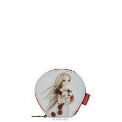 PORTAMONETE SMALL Santoro ROSE TEA curved flat purse MIRABELLE accessori 648EC02 bianco