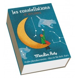STELLE FOSFORESCENTI CON CARTE Moulin Roty COSTELLAZIONI 10 carte + 30 stelle adesive LES PETITES MERVEILLES