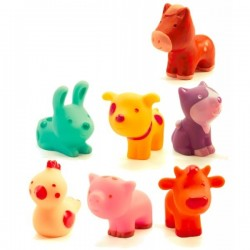 TROOPO FARM set di 7 animali in gomma FATTORIA morbidi DJECO gioco DJ09116 età 18 mesi +
