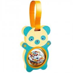 PITIDOU sonaglio ORSETTO orso GIOCO IN LEGNO orsacchiotto DJ06457 con palla rotante DJECO età 3 mesi +