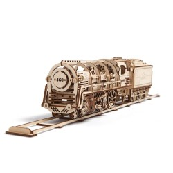 LOCOMOTIVA IN LEGNO UGEARS da montare modellismo 443 pezzi puzzle 3D meccanico