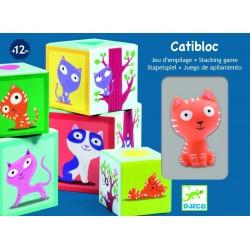 5 cubi CATIBLOC cubotti sovrapponibili in cartone robusto CON GATTO in gomma DJECO DJ09100 12 MESI +