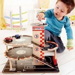 GARAGE PARCHEGGIA E VAI gioco in legno macchinine età 3+ Hape